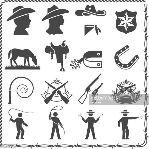 wild west cowboy and sheriff black & white icon set - cowboy hat stock illustrations, clip art, cartoons, & icons