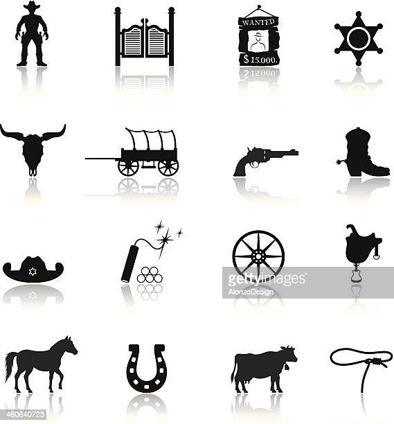 wild west cowboy icon set - horse cart stock illustrations, clip art, cartoons, & icons