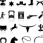 wild west cowboys black & white icons royalty free vector