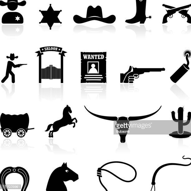 wild west cowboys black & white icons royalty free vector - cowboy stock illustrations, clip art, cartoons, & icons