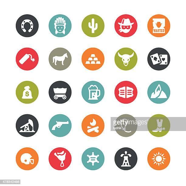 wild west icons / ringico series - horse cart stock illustrations, clip art, cartoons, & icons