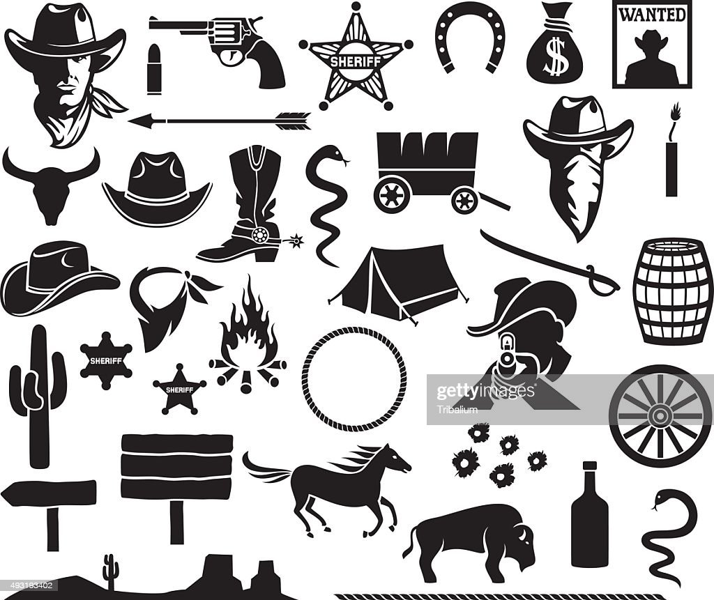 wild west icons set