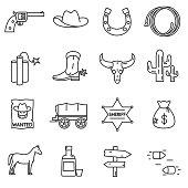 Wild West icons set.