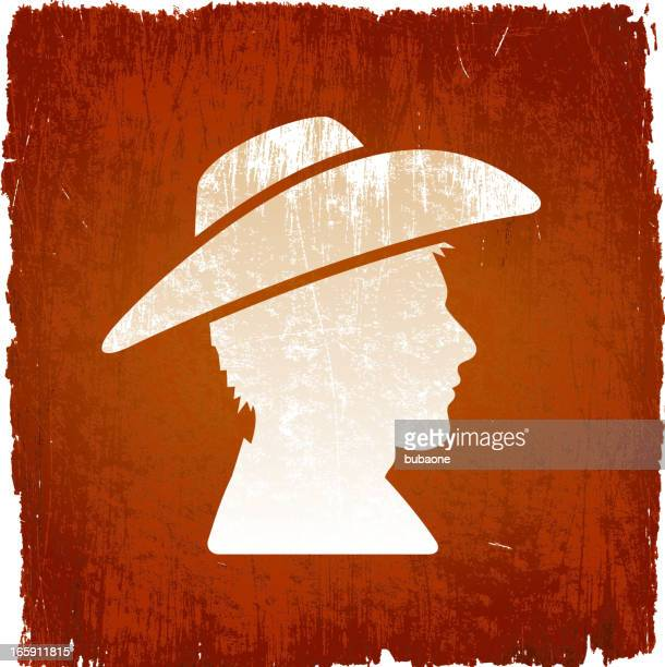 wild west outlaw cowboy on royalty free vector background - cowboy hat stock illustrations, clip art, cartoons, & icons