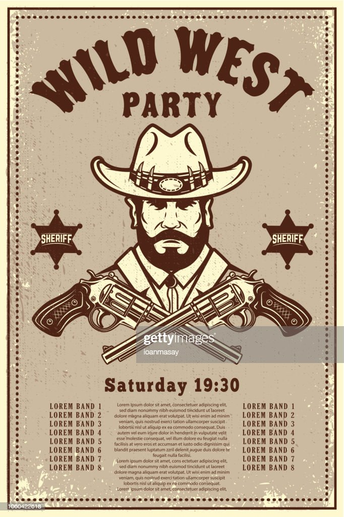Wild west party poster template. Cowboy hat with crossed revolvers. Wild West theme. Design element for poster, card, banner, flyer.