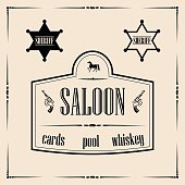 Wild west related illustrations - saloon sign with sheriff stars