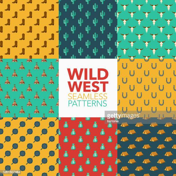 wild west seamless pattern set - cactus stock illustrations