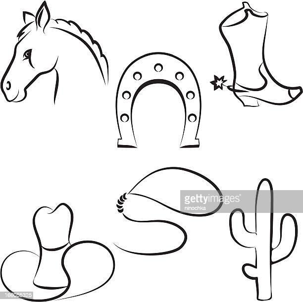 wild west-set - hufeisen stock-grafiken, -clipart, -cartoons und -symbole