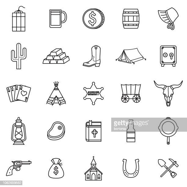 wild west thin line outline icon set - teepee stock illustrations