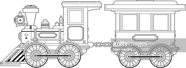 wild west train and carriage outline - miniature train stock illustrations, clip art, cartoons, & icons