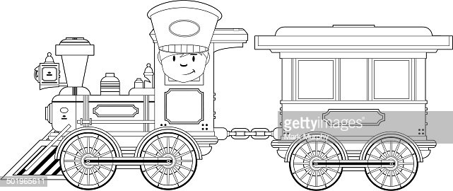 Wild West Train And Carriage Outline Stock Illustration