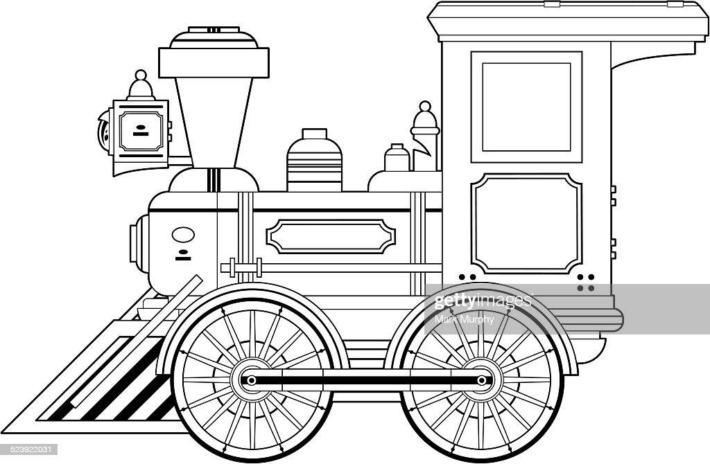Wild West Train Engine Outline Vector Art