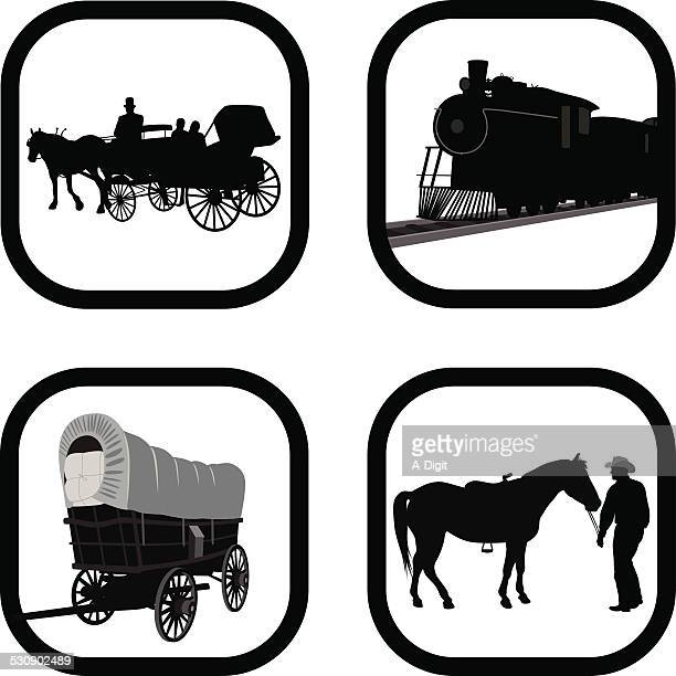 wildwest - horse cart stock illustrations, clip art, cartoons, & icons