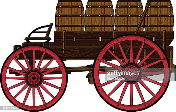 wild west wagon with barrels - horsedrawn stock illustrations, clip art, cartoons, & icons