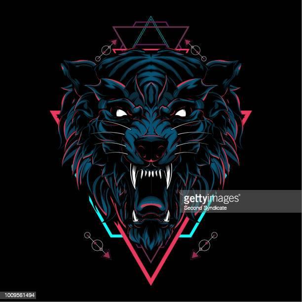 ilustrações de stock, clip art, desenhos animados e ícones de wild wolf sacred geometry - lobo