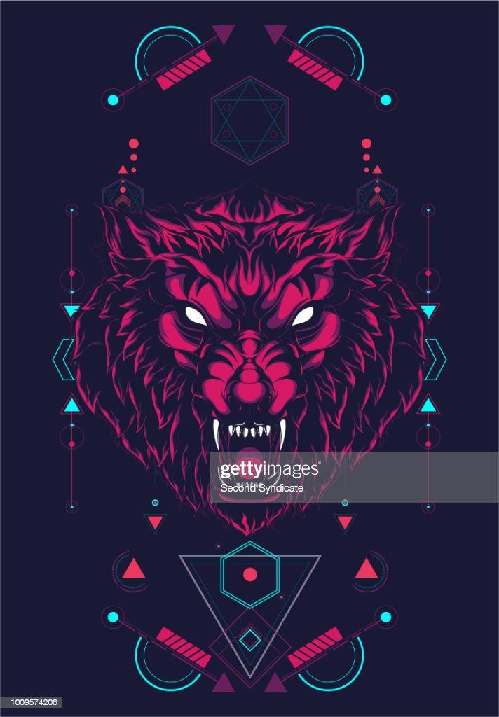Wild Wolf Sacred Geometry : stock illustration