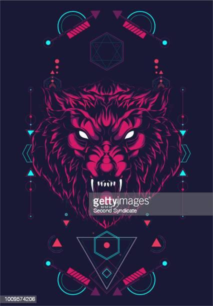 ilustraciones, imágenes clip art, dibujos animados e iconos de stock de geometría sagrada lobo salvaje - stealth