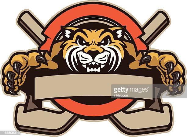 wildcat mascot hockey design - ice hockey stick stock illustrations