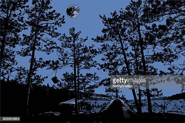Wilderness Campsite At Night With Full Moon