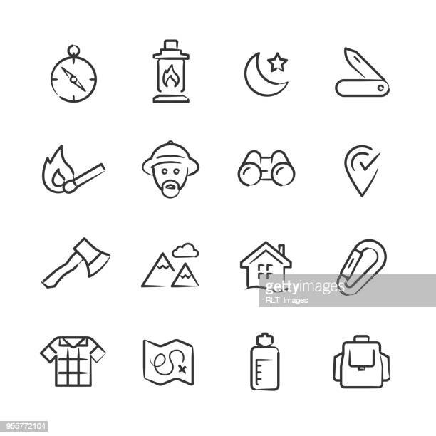 wilderness & exploration icons — sketchy series - wilderness stock illustrations