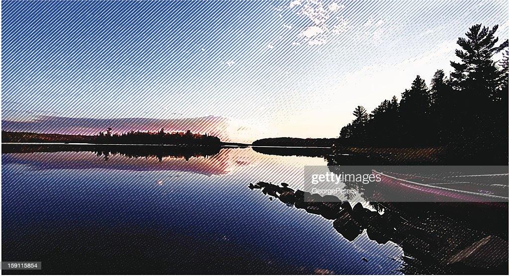 Wilderness Lake, Sunset and Canoe : Vector Art