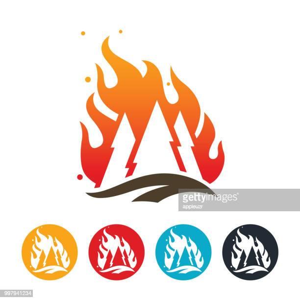 ilustraciones, imágenes clip art, dibujos animados e iconos de stock de icono de wildfire - incendio forestal