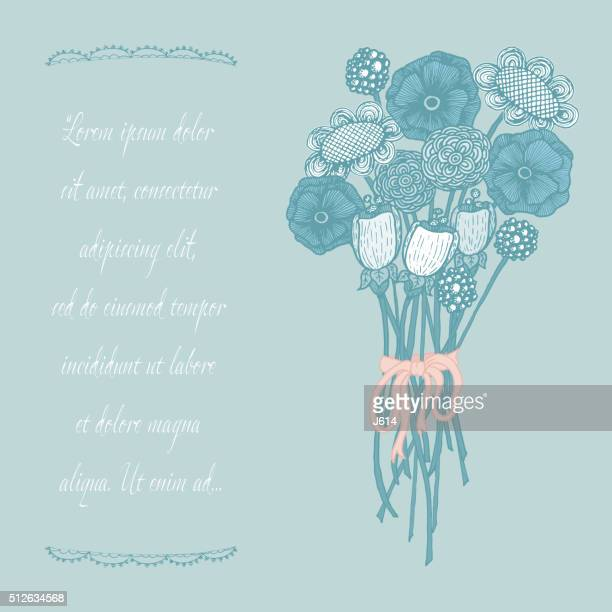 wildflower bouquet - ranunculus stock illustrations, clip art, cartoons, & icons