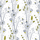 Wildflower seamless pattern. Floral repeat background. Flowers and leaves ornament for fabric