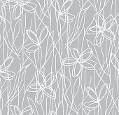 Wildflowers children's drawing seamless pattern, botanical texture. Small doodle hand drawn flowers on grey background, chalkboard.