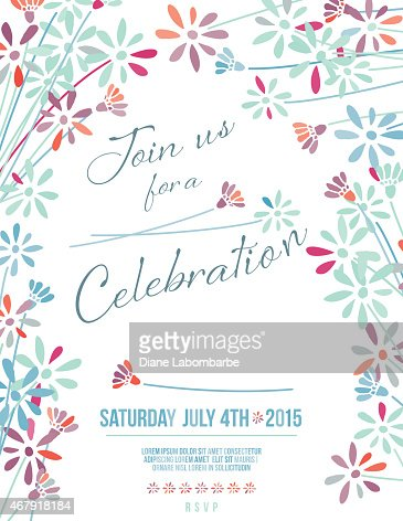 Wildflowers Garden Party Invitation Background Vector Art Getty