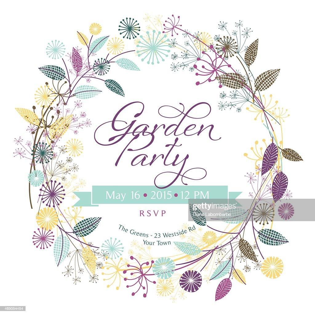 Wildflowers Garden Wreath Garden Party Template : stock illustration