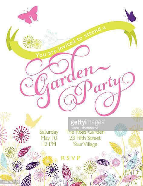ilustrações, clipart, desenhos animados e ícones de jardim de flores de grinalda garden party modelo - flowerbed