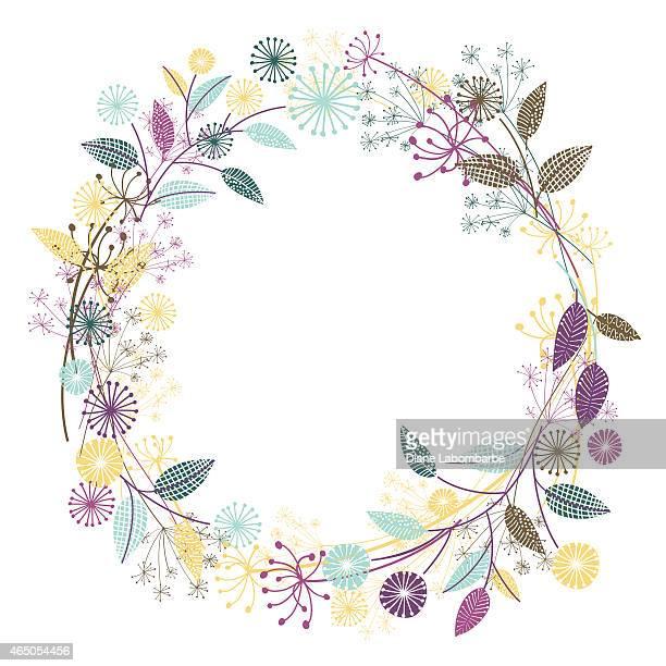 wildflowers garden wreath - wildflower stock illustrations