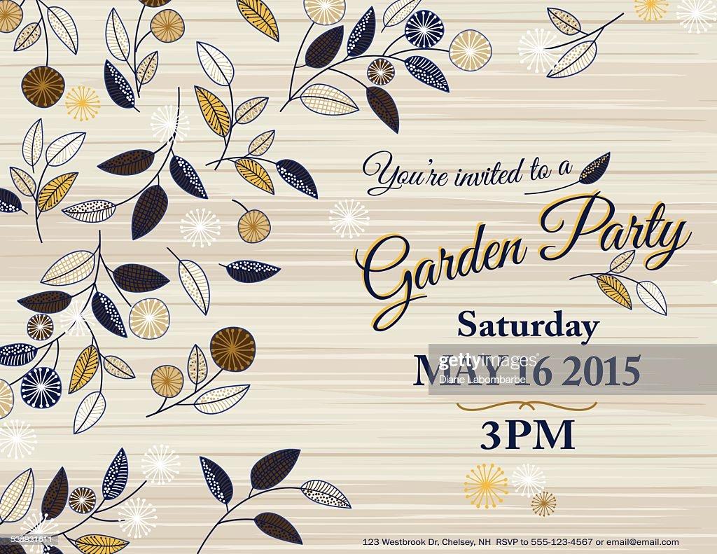 Wildflowers Spring Garden Party Invitation Template Vector Art ...
