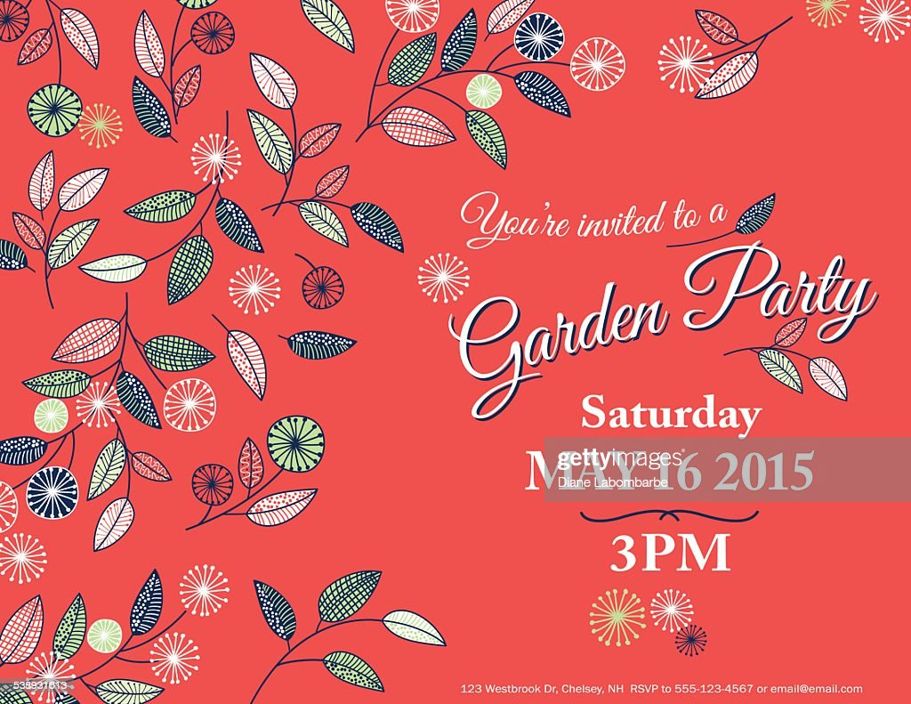Fleurs Sauvages Spring Garden Party Invitation Template Clipart ...