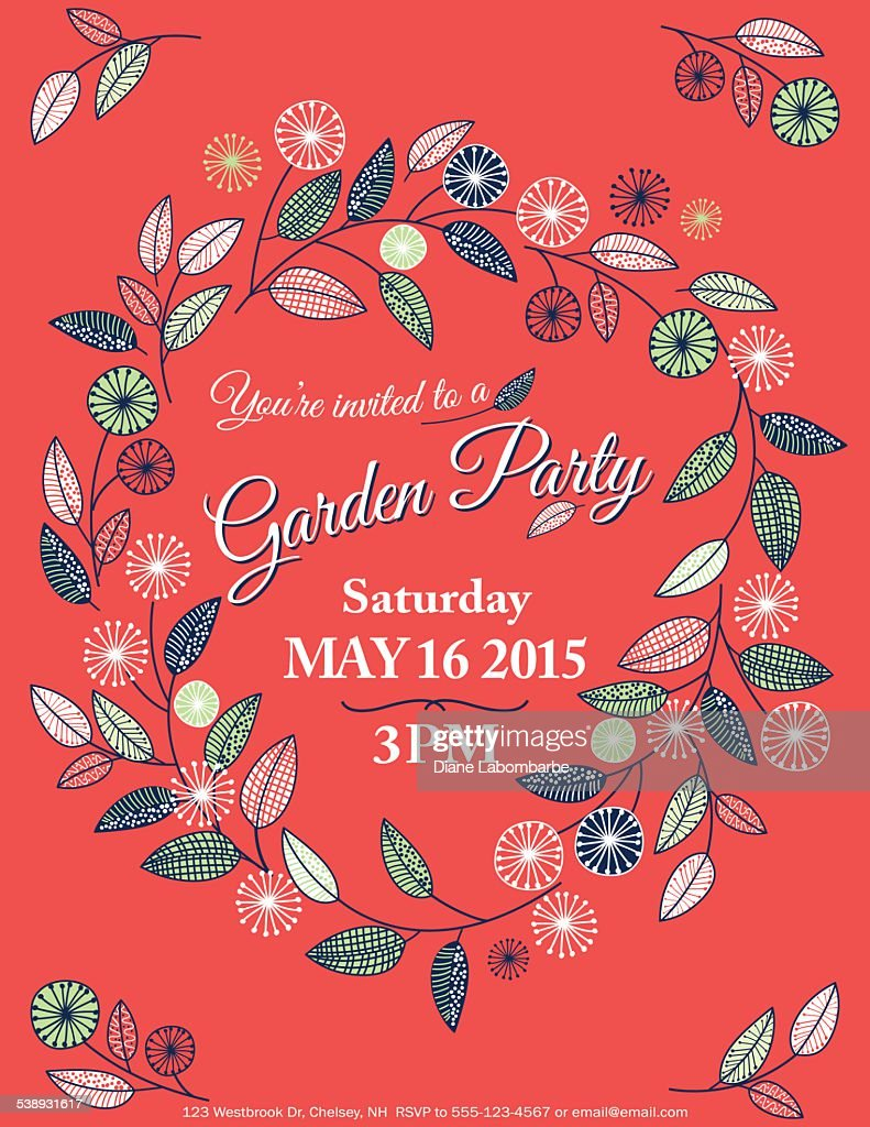 Wildflowers Spring Garden Party Invitation Template Vector Art ...