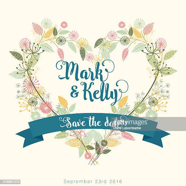 wildflowers wreath floral save the date card - wildflower stock illustrations