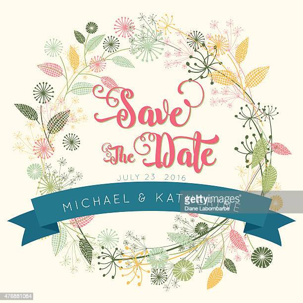 Wildflowers Wreath Floral Save The Date Card