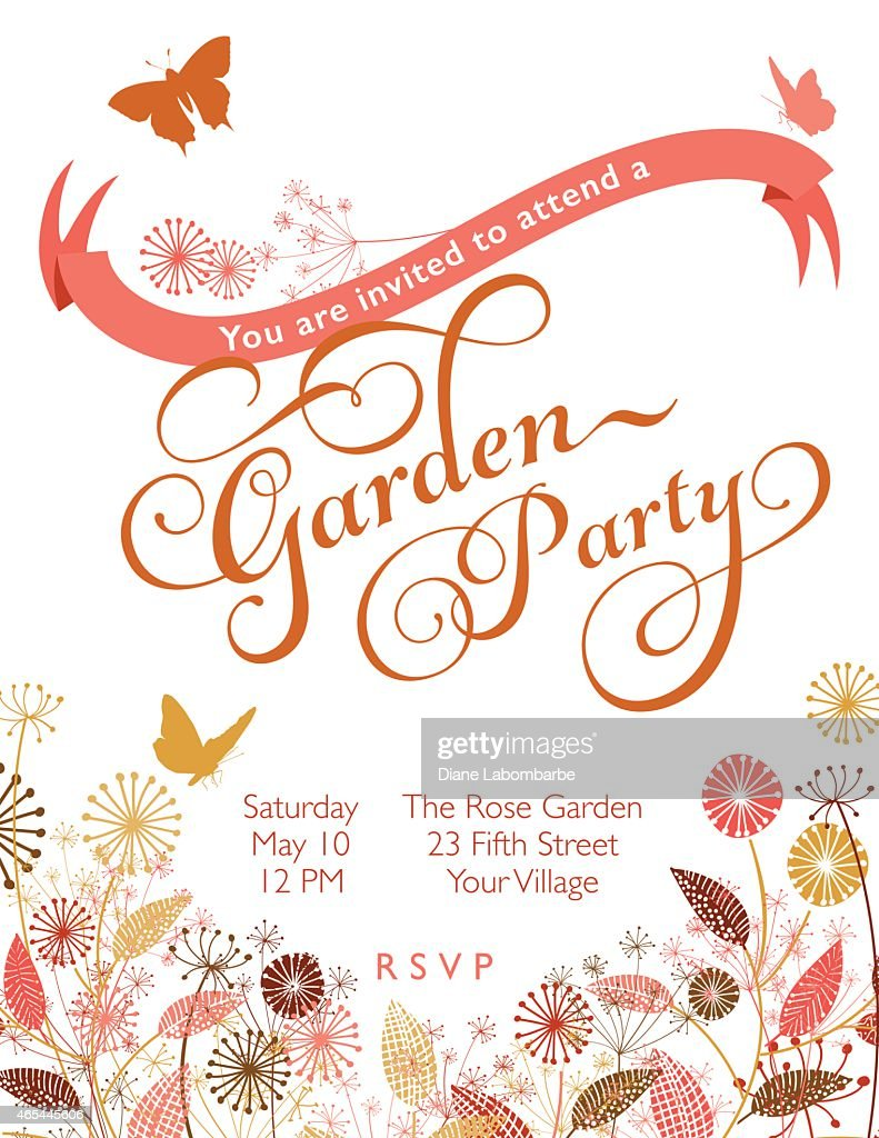Wildflowers Wreath With Banner Garden Party Invitation Template ...