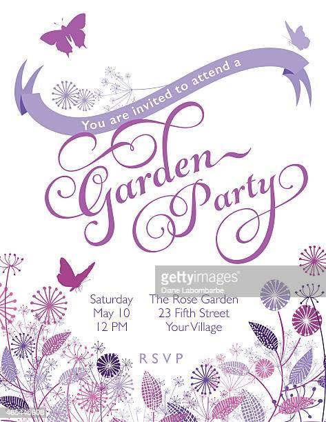 ilustrações, clipart, desenhos animados e ícones de coroa de flores silvestres com modelo de convite de banner garden party - flowerbed