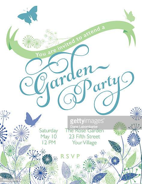 wildflowers wreath with banner garden party invitation template - flowers white background stock illustrations, clip art, cartoons, & icons