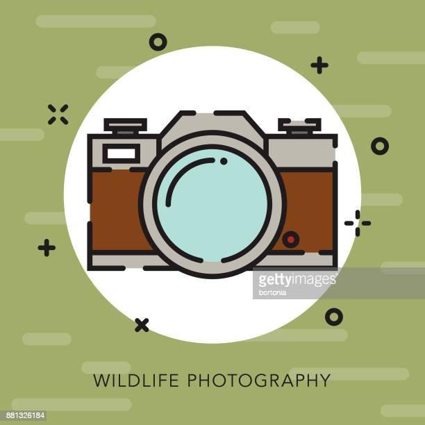ilustraciones, imágenes clip art, dibujos animados e iconos de stock de vida silvestre fotografía contorno abierto camping icono - camara reflex