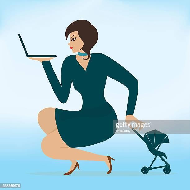 ilustraciones, imágenes clip art, dibujos animados e iconos de stock de voy a tener un hijo y una carrera ambos - madre trabajadora