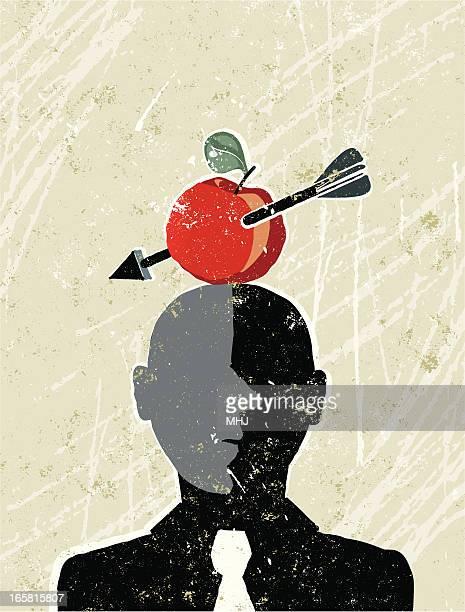 ilustrações, clipart, desenhos animados e ícones de william tell empresário com uma maçã e flecha - incerteza