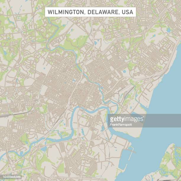 Wilmington Delaware Us City Street Map Stock Vector Getty Images - Delaware-on-a-us-map