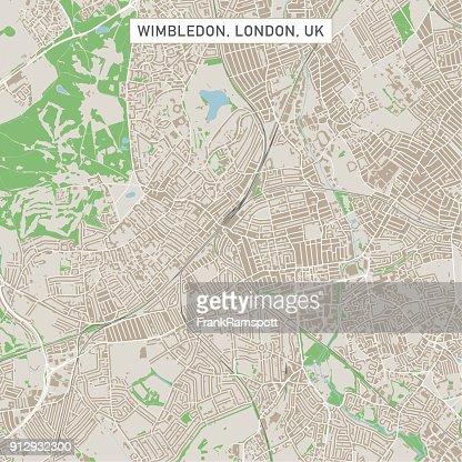 wimbledon london uk city street map vector art getty images