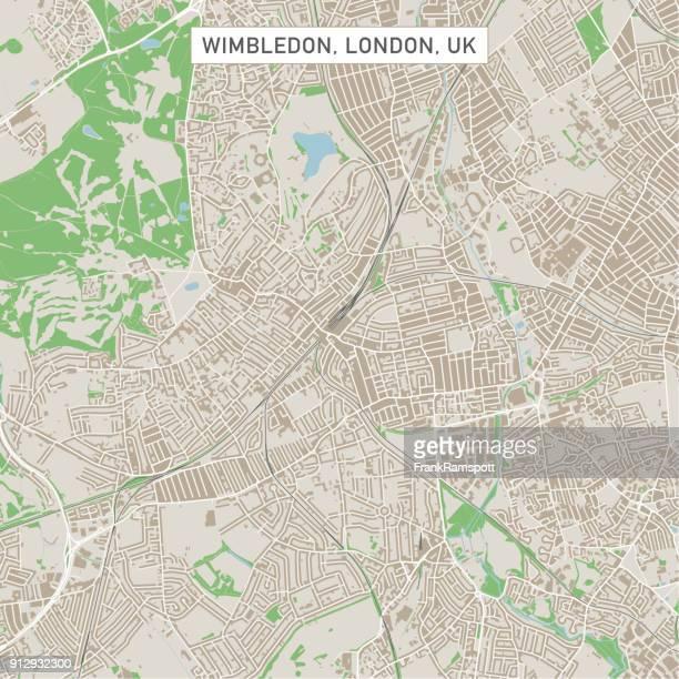 wimbledon london uk stadt stadtplan - london und umgebung stock-grafiken, -clipart, -cartoons und -symbole