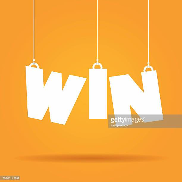 win hanging label - winning stock illustrations