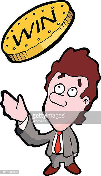 win the toss - flipping a coin stock illustrations, clip art, cartoons, & icons