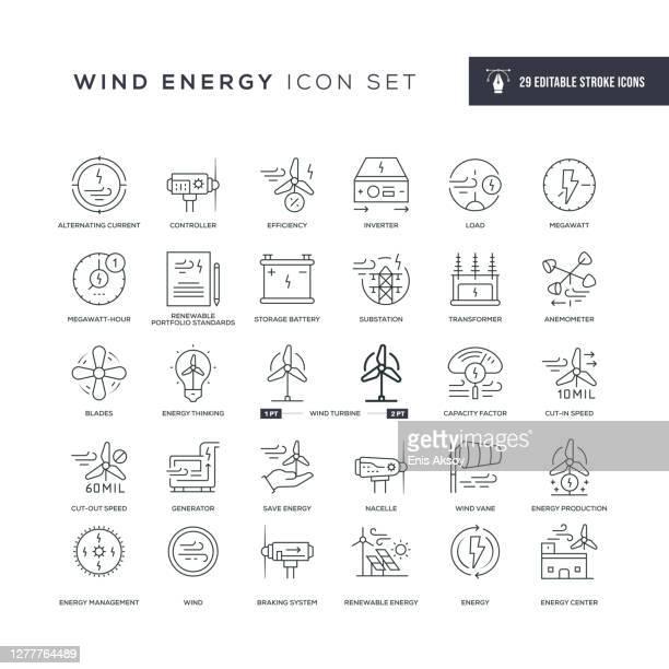 bildbanksillustrationer, clip art samt tecknat material och ikoner med ikoner för ändringsbara linjeringlinje för vindenergi - generator